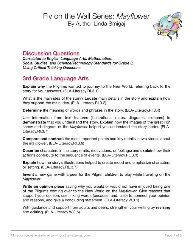 Mayflower-Classroom Standards-Grade 3-www.flyonthewallseries.com