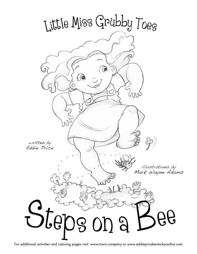 Coloring Page Little Miss Grubby Toes Steps On A Bee
