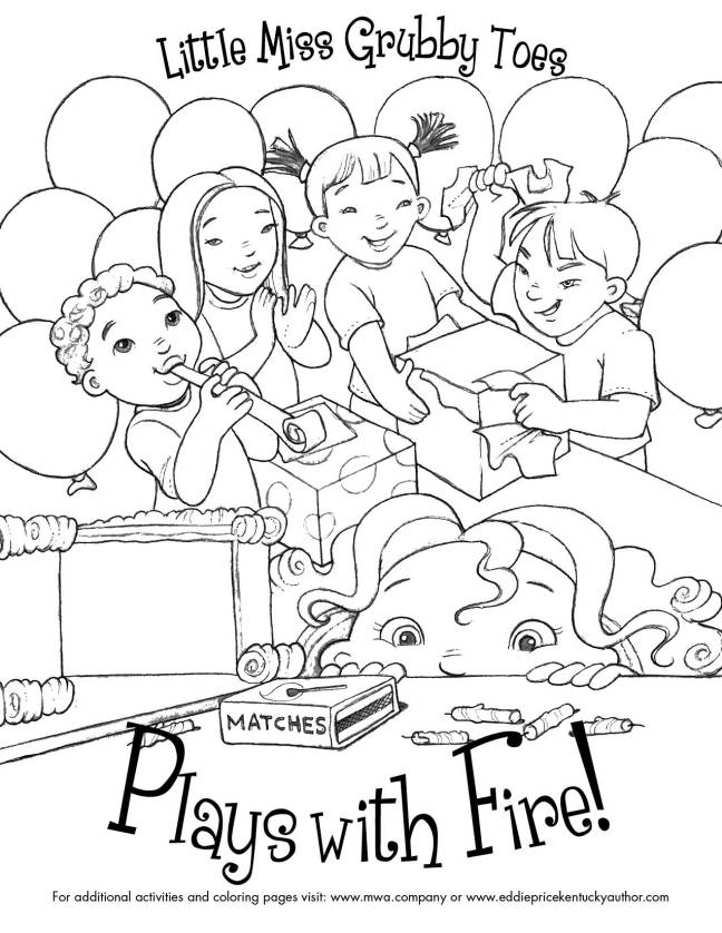 Free Coloring Page Little Miss Grubby Toes Plays With Fire